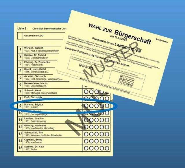 Wahlzettel Brigitta Martens Listenplatz 9 der CDU